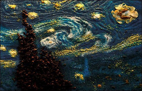 صورة رقم 3 - فنانة تعيد خلق لوحات فان غوخ عن طريق.. التوابل والبهارات