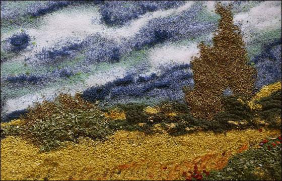 صورة رقم 5 - فنانة تعيد خلق لوحات فان غوخ عن طريق.. التوابل والبهارات