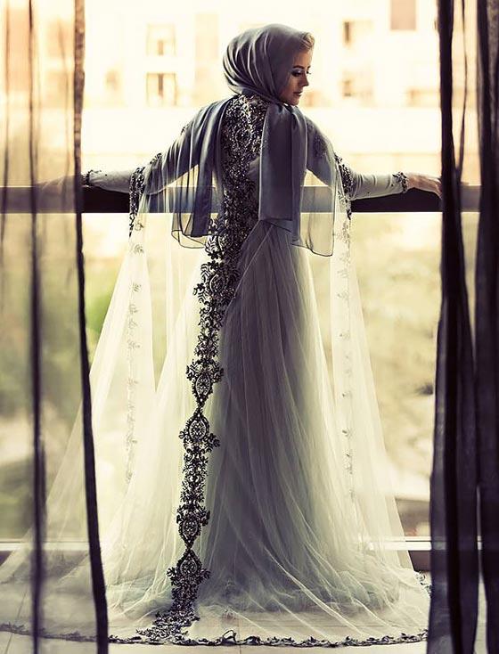 a82ba2a97 صورة رقم 4 - صور اجمل فساتين زفاف المحجبات عالميا بينهن عروس لبنانية ومصرية