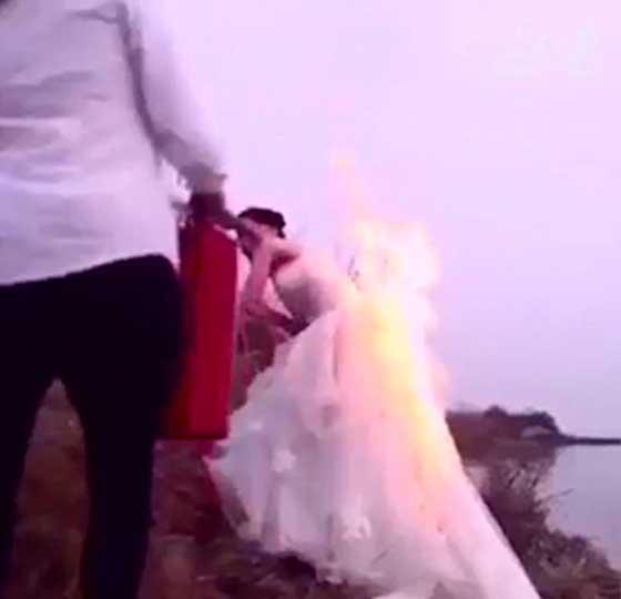 مصور يشعل النار في فستان عروس مجنونة لالتقاط اجمل صورة!! صورة رقم 3