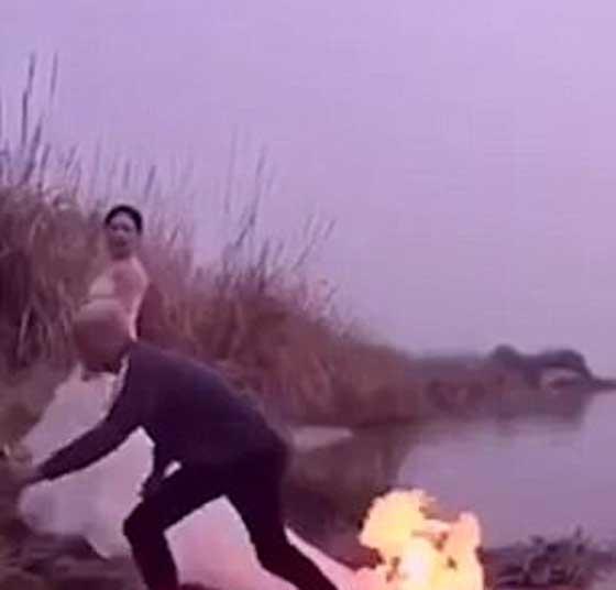 مصور يشعل النار في فستان عروس مجنونة لالتقاط اجمل صورة!! صورة رقم 1