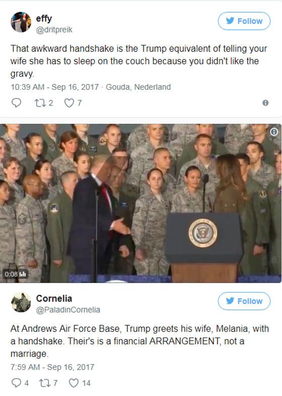 صورة رقم 12 - الرئيس الأمريكي دونالد ترامب  يهين زوجته ميلانيا على العلن.. فيديو