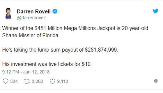 صورة رقم 5 - شاب يفوز بـ 282 مليون دولار في اليانصيب ويقول: توقعت الربح!