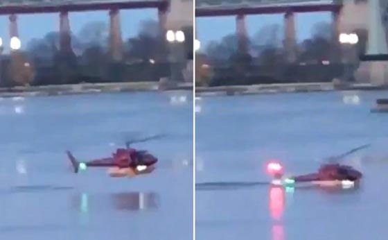 بالفيديو والصور.. سقوط طائرة هليكوبتر في نهر بمدينة نيويورك صورة رقم 1