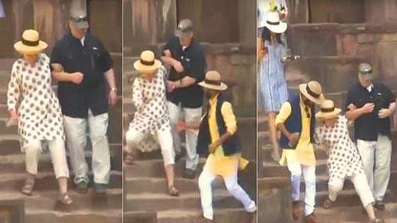 بالفيديو.. هيلاري كلينتون تنزلق على سلم طويل خلال  زيارتها للهند صورة رقم 1