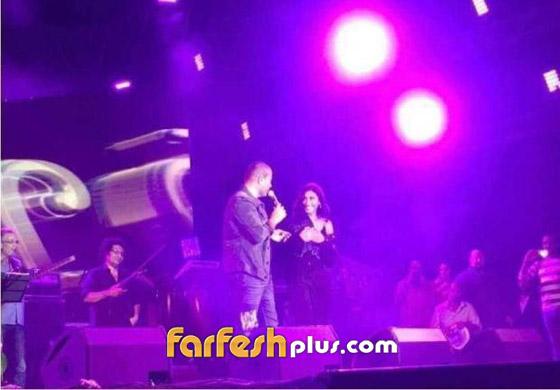 تسريب فيديو لعمرو دياب على المسرح يقبّل دينا الشربيني ويهمس (بحبك) صورة رقم 14