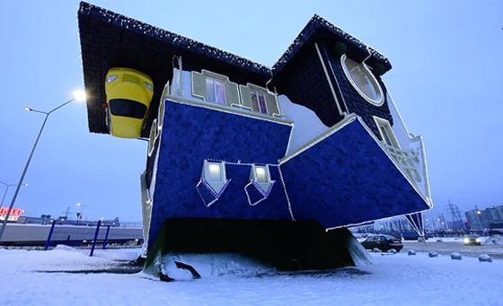 بالفيديو والصور.. منزل فريد من نوعه صمم بالمقلوب صورة رقم 5