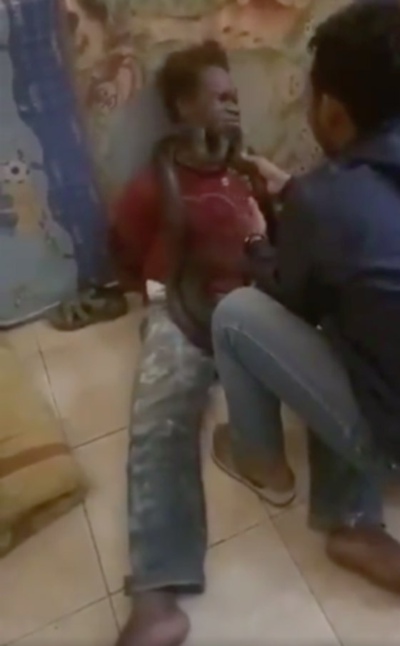 عناصر شرطة إندونيسية يعذبون لصا ويحققون معه باستخدام ثعبان ضخم! فيديو صورة رقم 1