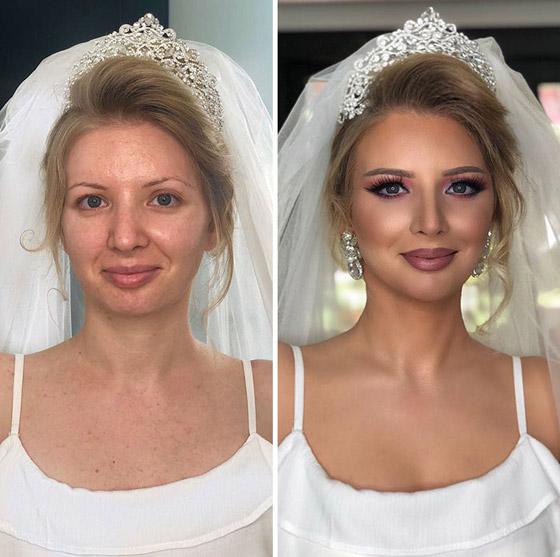 00e584a07527a صورة رقم 1 - صور صادمة للفرق الهائل لفتيات قبل وبعد المكياج والتجميل ليلة  العرس!