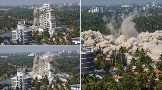 فيديو وصور: تفجير مجمعين سكنيين فاخرين في الهند بقرار من السلطة! صورة رقم 13