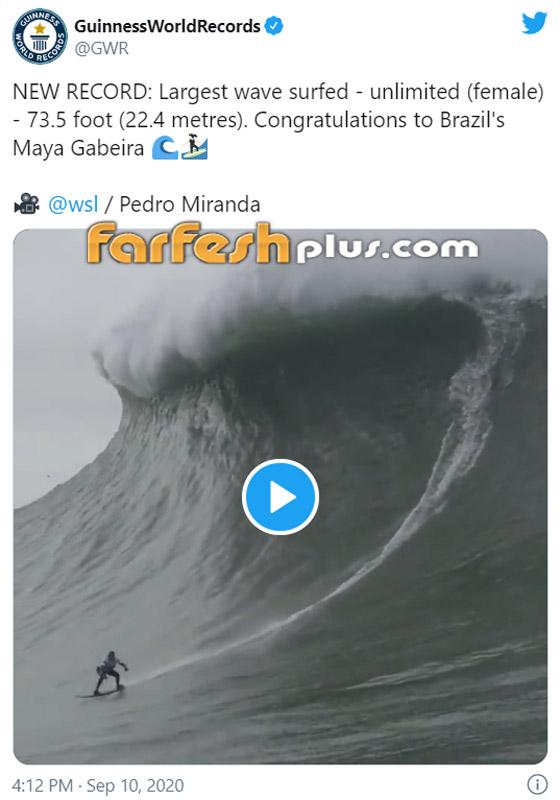 لقطة توقف القلب: برازيلية تحطم رقما قياسيا بركوب أكبر موجة أسطورية! صورة رقم 1
