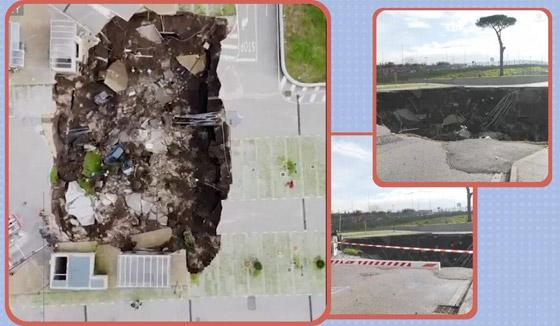 فيديو مرعب لانهيار أرضي يبتلع السيارات في موقف مستشفى إيطالي! صورة رقم 4