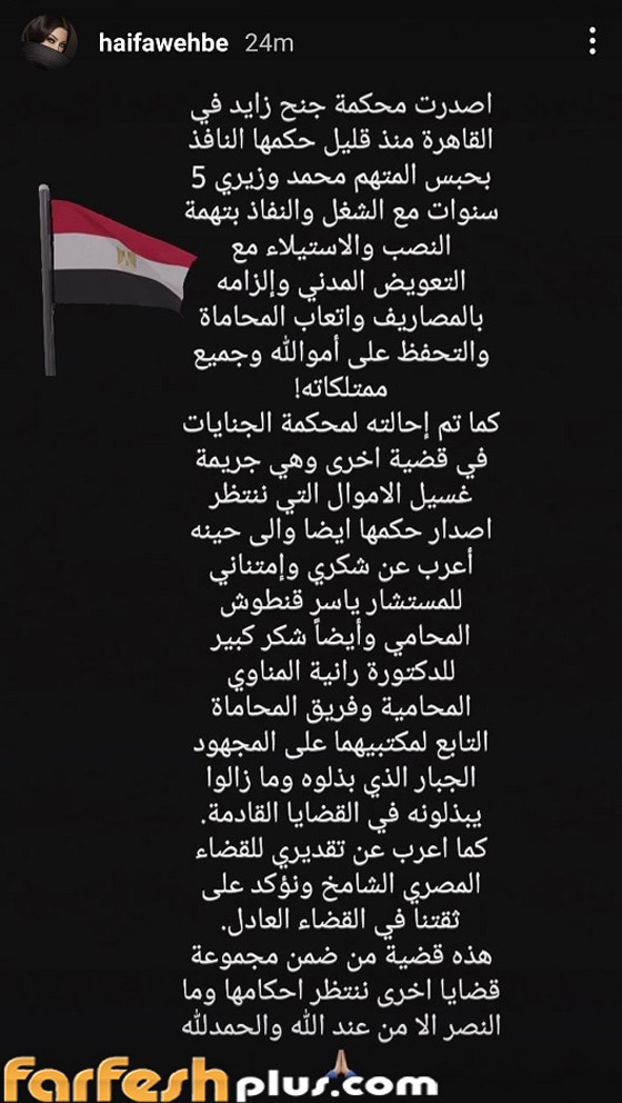 أول تعليق لهيفاء وهبي على حكم حبس محمد وزيري 5 سنوات بتهمة نصبها صورة رقم 1