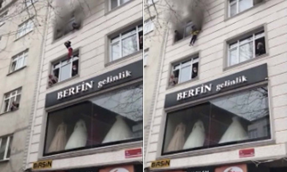 صورة رقم 4 - فيديو مؤثر لامرأة تركية تلقي أطفالها من النافذة لإنقاذهم من حريق بالمنزل