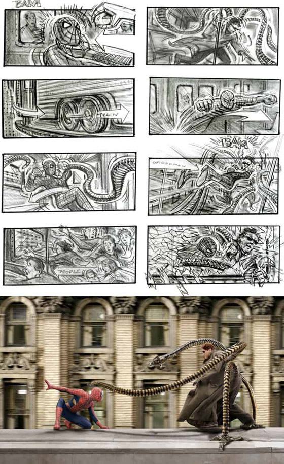 صورة رقم 6 - رسومات لأفلام شهيرة تكشف كيف تبدو قبل إنتاجها وتصويرها في الواقع