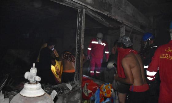 صورة رقم 2 - 27 وفاة على الأقل جراء حريق بمستشفى لمرضى كورونا في بغداد