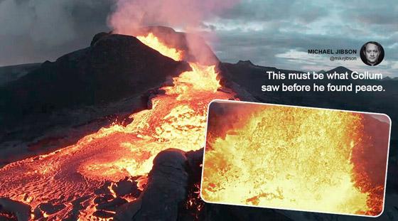 صورة رقم 1 - فيديو يخطف الأنفاس للقطات تظهر نهر من النار والحمم في آيسلندا