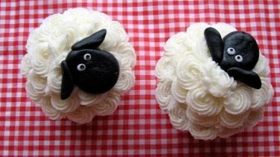 صورة رقم 1 -   طريقة تحضير كب كيك على شكل خروف العيد