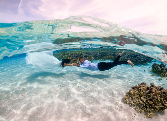 صورة رقم 2 - صور مدهشة: ثنائي سعودي يحتفلان بزفافهما تحت الماء في جزر المالديف