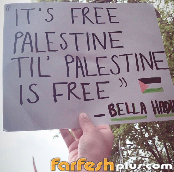 صورة رقم 2 - صور: بيلا حديد تعبر من جديد عن حبها لوطنها فلسطين