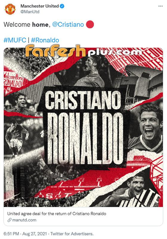 صورة رقم 1 - مانشستر يونايتد يُعلن رسميا عودة مع النجم البرتغالي كريستيانو رونالدو