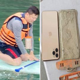 ما زال يعمل! رجل يسترجع هاتفه الذي سقط في بحيرة قبل عام!