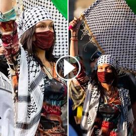 فيديو وصور: بيلا حديد بالكوفية في مظاهرة دعما لفلسطين