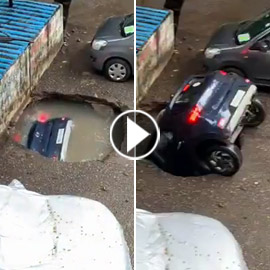 سيارة ابتلعتها الأرض أمام عيني صاحبها بالهند.. اختفت في ثوان! فيديو