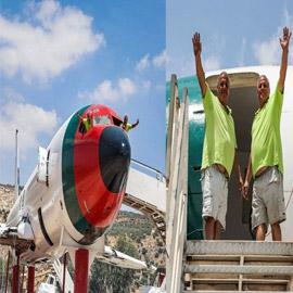 فلسطينيان يحوّلان طائرة بوينغ 707 الى مطعم وقاعة أفراح