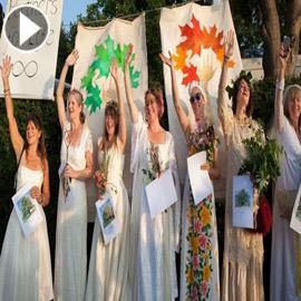 فيديو وصور :نساء يتزوجن من أشجار في مدينة بريستول البريطانية