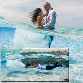 صور مدهشة: ثنائي سعودي يحتفلان بزفافهما تحت الماء في جزر المالديف