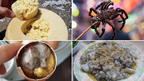 جبن باليرقات ومقبلات من العناكب.. إليكم أشهر الأطعمة الغريبة حول العالم