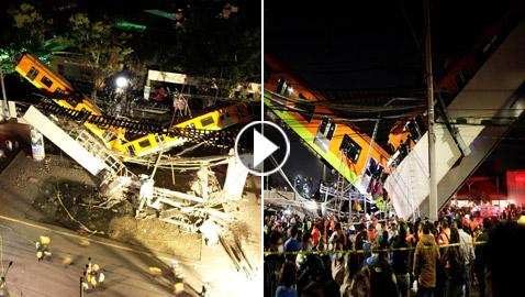 سقوط قطار على السيارات.. قتلى وجرحى بانهيار جسر معلق بالمكسيك!