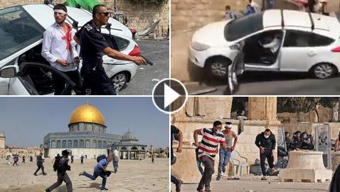فيديوهات صادمة: بعد اقتحام شرطة إسرائيل للمسجد الأقصى، مستوطن يدهس مصلين ويقول: هم رجموني بالحجارة