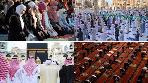 بالصور: المسلمون يؤدون صلاة عيد الفطر حول العالم