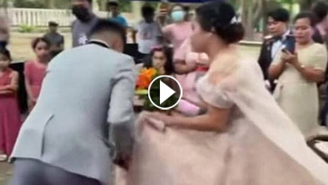 رجل تحت الفستان.. فيديو لعروس في موقف محرج يوم زفافها