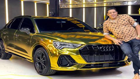 حمو بيكا يستفز الجمهور بسيارة مطلية بالذهب عيار 24
