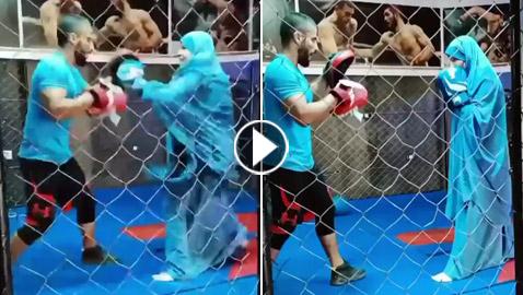 فيديو: فتاة محجبة تلاكم شابا بمهارة.. لم يمنعها حجابها من الرياضة