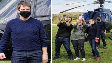 صور: توم كروز يفاجئ عائلة بريطانية ويهبط بطائرته في حديقة بيتهم.. لم يصدقوا حين خرج من المروحية!