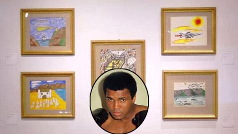 صور: لوحات للملاكم محمد علي تباع بالمزاد.. رسم بعضها بين مبارياته