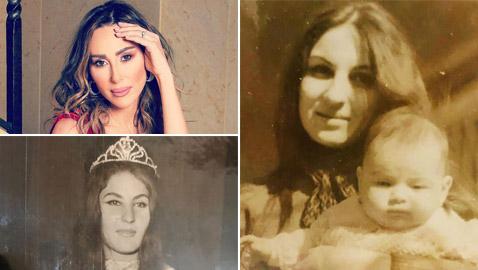 صور ورد الخال طفلة بأحضان والدتها ملكة الجمال والشاعرة السورية